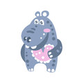 Cute smiling cartoon Hippo character vector Illustration Royalty Free Stock Photo