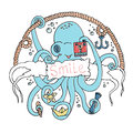 Cute smiling cartoon octopus with a camera. Royalty Free Stock Photo