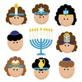 Cute smiling children celebrating Hanukkah