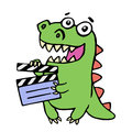 Cute smiling dinosaur with movie clapper board. Vector illustration.