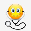 Cute smiling doctor emoticon wearing stethoscope, emoji, smiley - vector illustration