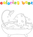 Cute smiling dragon taking bath with foam. Vector illustration f Royalty Free Stock Photo