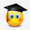 Cute smiling emoticon wearing mortar board, , emoji, smiley - vector illustration
