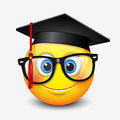 Cute smiling emoticon wearing mortar board and eyeglasses, , emoji, smiley - vector illustration