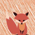 Cute smiling fox vector cartoon illustration. Wild zoo animal icon. Fluffy adorable pet looking straight. Isolated on white. Fores