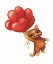 Cute Smiling Furry Kitten in Love, Flying on Balloons in the Shape of Hearts - Happy Green-Eyed Hand-Drawn Cartoon Character