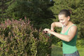 Cute smiling girl cutting and trimming hedges Stock Image