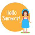 Cute smiling girl kid in blue summer dress and hat. Seasonal background, hello summer banner Royalty Free Stock Photo