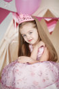 Cute smiling little girl in pink princess Royalty Free Stock Photo