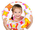 Cute smiling little girl with rubber ring Royalty Free Stock Photo