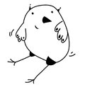 Cute smiling sitting owl colorless contour outline funny cartoon picture. Black and white illustration. Coloring book page