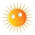 Cute smiling sun sunrays