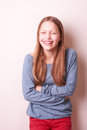 Cute smiling teen girl portrait of a Stock Photo