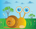 Cute snail a cartoon illustration of a Royalty Free Stock Photo