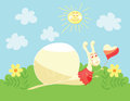 Cute snail with heart balloon Royalty Free Stock Photography