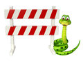 Cute Snake cartoon character with baracade Royalty Free Stock Photo