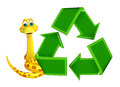 Cute Snake cartoon character with recycle Royalty Free Stock Photo