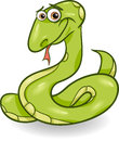 Cute snake cartoon illustration of green reptile animal Stock Photography