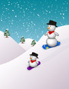 Cute snowboarding snowmen in a snowy winter scene Stock Image