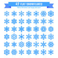 Cute snowflake collection isolated on white background. Flat snow icon, snow flakes silhouette. Nice snowflakes for christmas bann Royalty Free Stock Photo