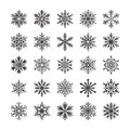 Cute snowflake collection isolated on white background. Flat snow icons, snow flakes silhouette. Nice snowflakes for christmas ban