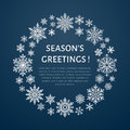 Cute snowflake poster, banner. Seasons greetings. Flat snow icons, snowfall. Nice snowflakes christmas template, cards. New year Royalty Free Stock Photo