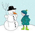 Cute snowman and boy illustration Stock Photos
