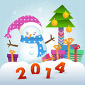 Cute snowman and christmas tree with gifts new year postcard Royalty Free Stock Photography