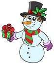 Cute snowman with gift Royalty Free Stock Photography