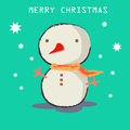 Cute snowman with merry christmas text Stock Images