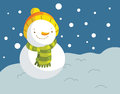 Cute snowman and winter background Stock Photo