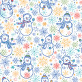 Cute snowmen seamless pattern background vector with hand drawn elements Royalty Free Stock Photo