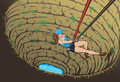Cute spelunker cartoon of a girl cave trekking Stock Photo