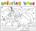 Cute spider and his friend fly decorate a Christmas tree. Coloring book for kids. Royalty Free Stock Photo