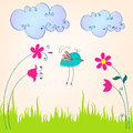 Cute spring bird illustration Royalty Free Stock Photos