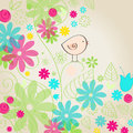 Cute spring bird illustration vector hand drawn style Royalty Free Stock Image