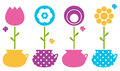 Cute spring flowers in flower pots colorful collection vector illustration Stock Photography