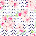 Cute spring flowers and navy waves seamless vector print ribbon speckled backdrop Stock Photo