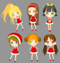 Cute sprite santa girls set vector create by Stock Photo