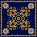 Cute square card, tea box template or fashionable shawl in ethnic style. Flowers mandalas and gold ornamental pattern