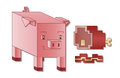 A cute square pig next to some square bacon and ham Royalty Free Stock Photos
