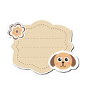 Cute sticker label, frame for text. Kids tag for text. Scribbled notebook page .vector illustration Royalty Free Stock Photo