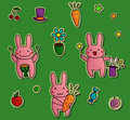 Cute stickers with bunnies cartoonish fruits flowers and stars Stock Images