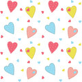 Cute stitched hearts background with seamless pattern included Stock Photo