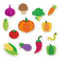 Cute stitched vegetable colorful vegetables with dotted pattern Royalty Free Stock Photography