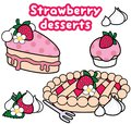 Cute Strawberry Themed Desserts Vector Set