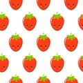 Cute Strawberry vector pattern background, Fruit illustration on white background