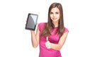 Cute student holding tablet computer. Royalty Free Stock Photos