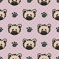 Cute stuffed teddy bear plush with paw pad seamless vector pattern. Hand drawn kids soft toy on striped background. Kawaii cuddly Royalty Free Stock Photo