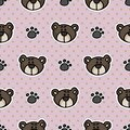 Cute stylized teddy bear plush with paw pad seamless vector pattern. Hand drawn kids soft toy on striped background. Kawaii cuddly Royalty Free Stock Photo
